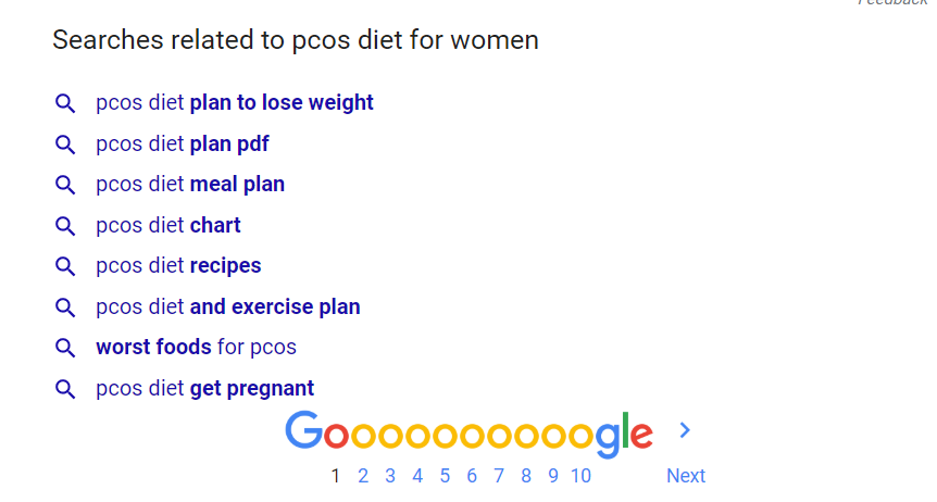 search PCOS diet for women