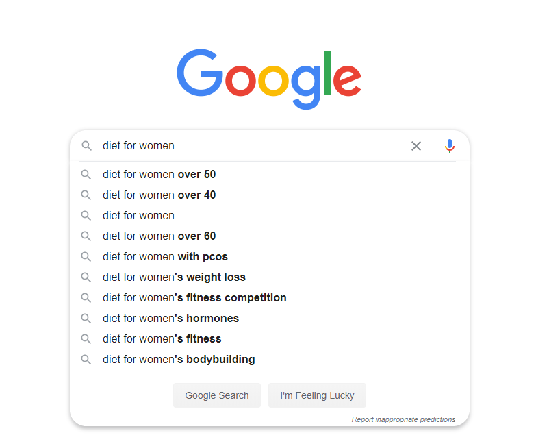 search diet for women