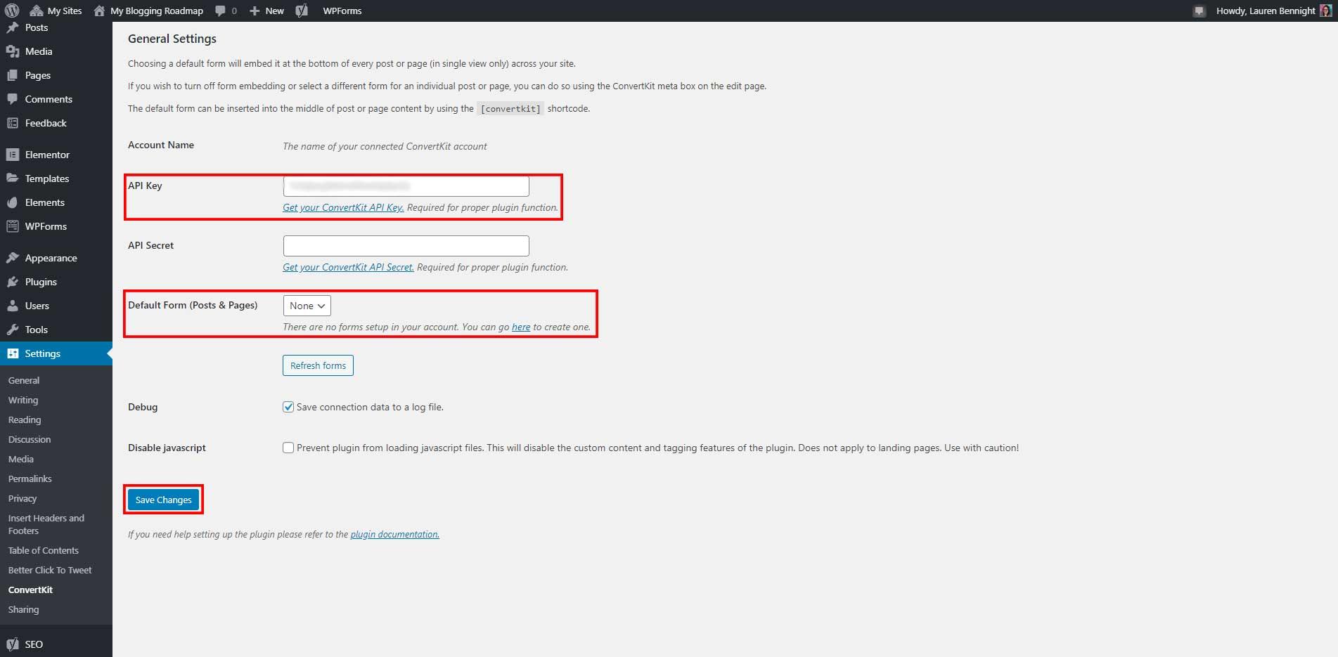 API key default form