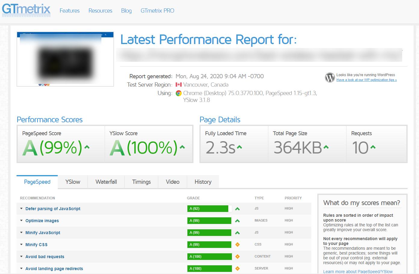 GTmetrix Near Perfect Performance A Scores