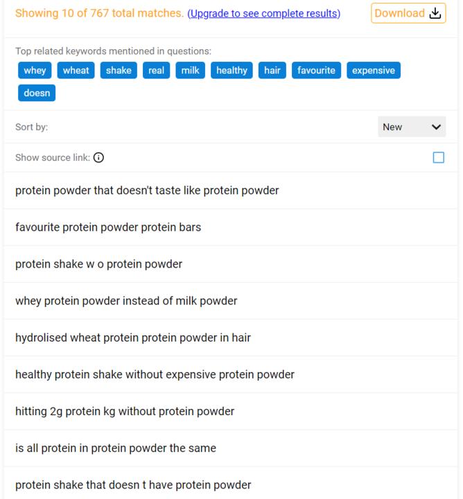 QuestionDB search protein powder