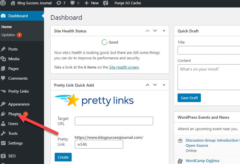 Wordpress plugin section