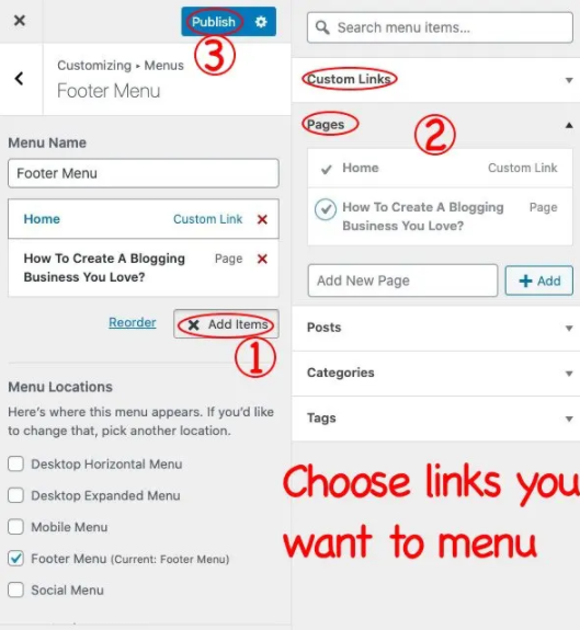 add items to publish