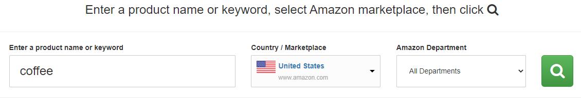 amazon keyword tool search coffee