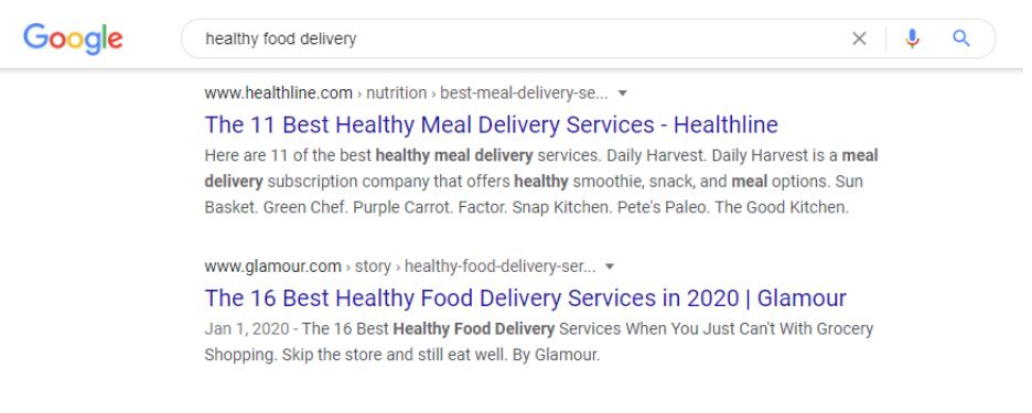 healthy food delivery google results