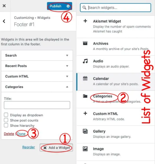list of widgets