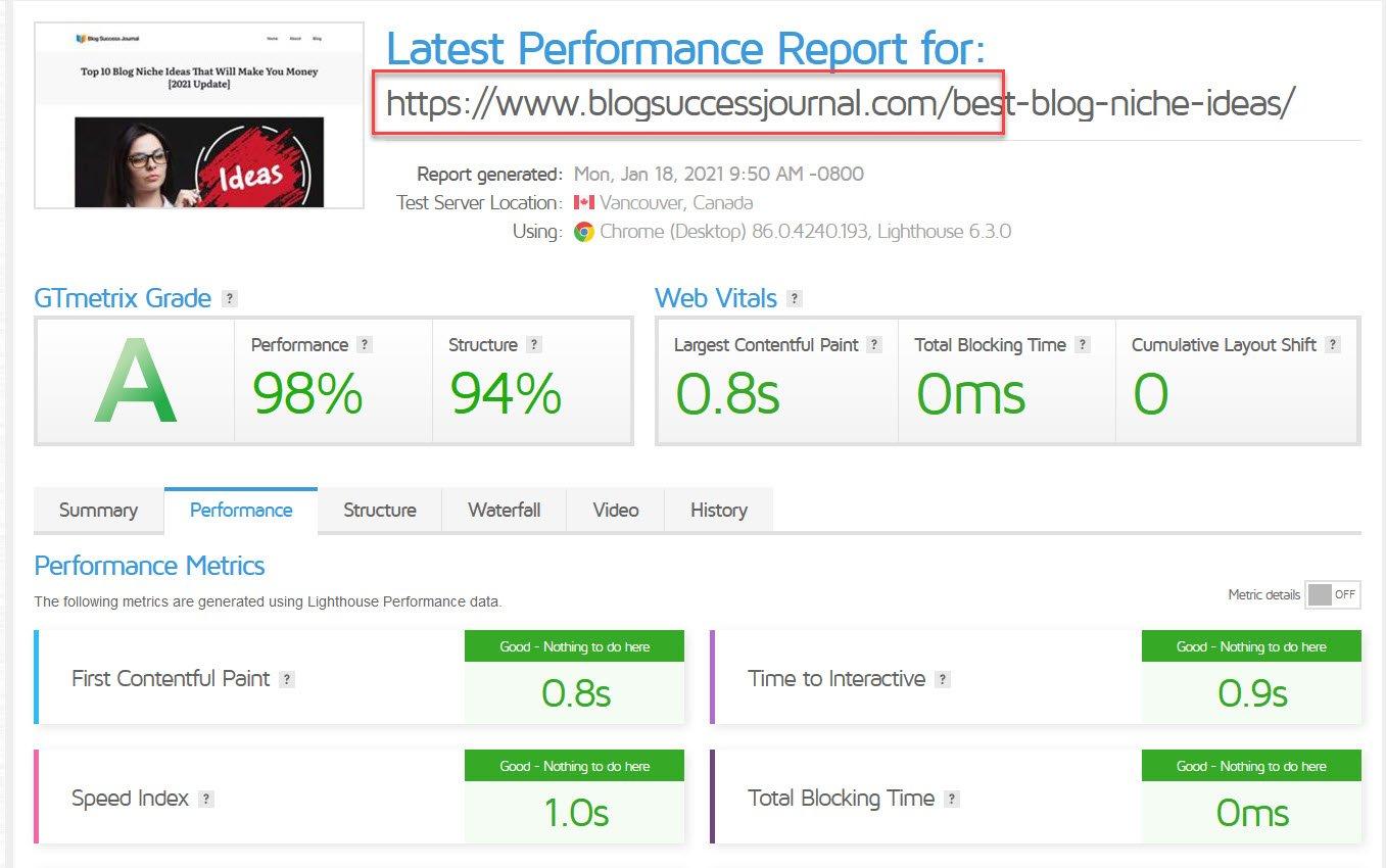 gt metrix excellent blog performance